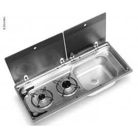 Kocher-Spüle-Kombination mit 2-teiliger Glasabdeckung