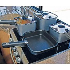 Camping cookware SMARTSPACE, 10 pieces, square, aluminium