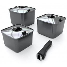 Camping-Kochgeschirr SMARTSPACE, 10 teilig, quadratisch, Aluminium