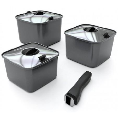 Batterie de cuisine de camping SMARTSPACE, 10 pièces, carré, aluminium