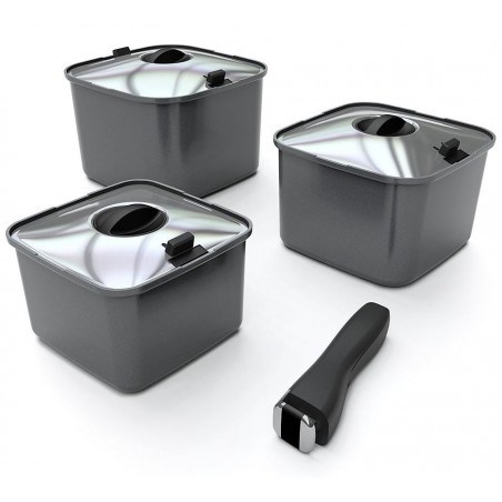 Camping cookware SMARTSPACE, 10 pieces, square, aluminium