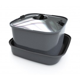 Frying pan SMARTSPACE, 3 parts, pan with handle and silicone mat, square, aluminium