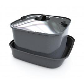 Poêle à frire SMARTSPACE, 3 pièces, poêle avec manche et tapis en silicone, carrée, en aluminium