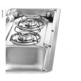 Kocher-Spüle-Kombination mit 2-teiliger Glasabdeckung, Küche Gaskocher