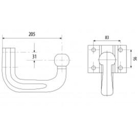 Barre d'attelage de tête de boule de remorque, 4 trous, 205mm de long, Ford Nugget, Ducato