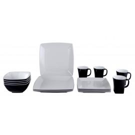 Vaisselle de camping Service de table en mélamine / Quadrato Black & White