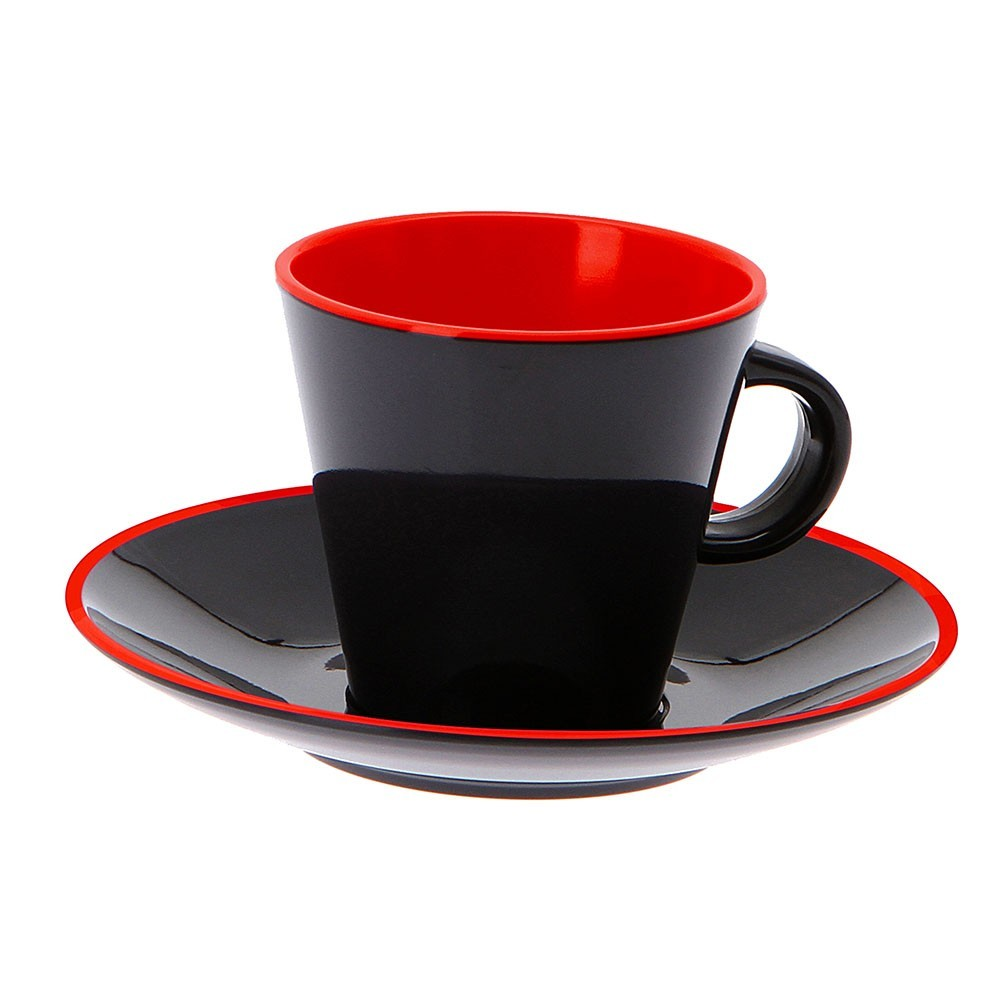 Set of 4 Espresso, Grey Line red Camping Tableware