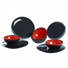 melamine tableware Grey Line - Red