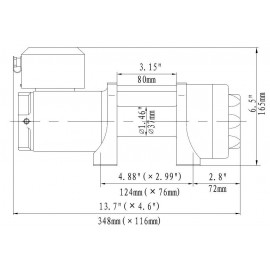 Seilwinde 1,6 t Gamma 3.5 ATV 12V Kunststoffseil Elektrowinde drawing