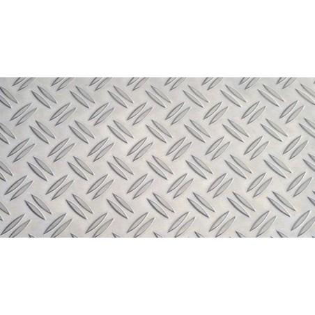 Plaque d'aluminium avec double bosses diagonal de quadrillage - AlMg3