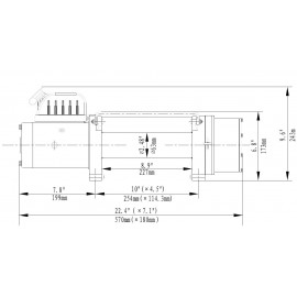 Seilwinde 3,6 t Delta 8.0 ATV 12V Kunststoffseil Zeichnung drawing