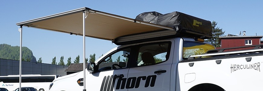 Awnings for caravans, wall mounting, camper vans and off-road vehicles